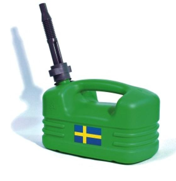 Kuvassa on vihreä kanisteri, jonka kyljessä on Ruotsin lippu.