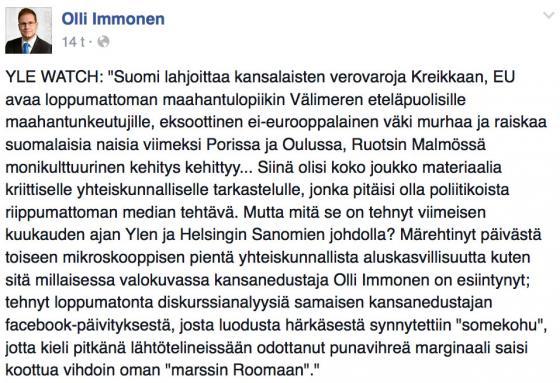 Kuvakaappaus Olli Immosen Facebook-päivityksestä