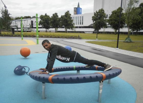Petko Georgiev urheilee
