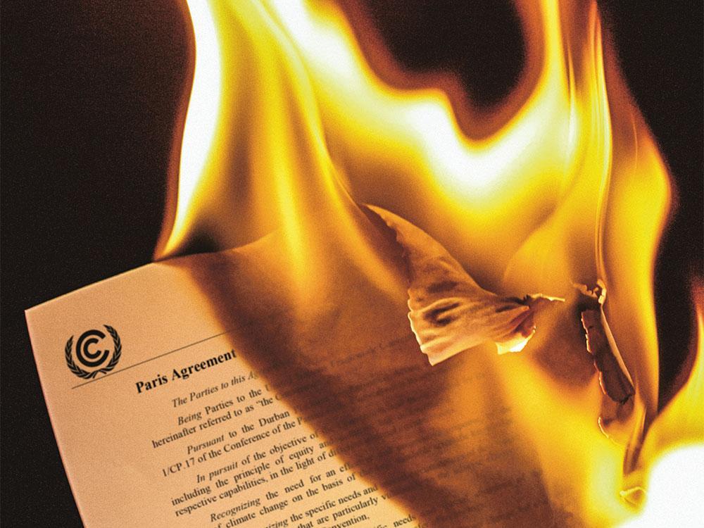 Kuvituskuvassa palava Pariisin sopimus