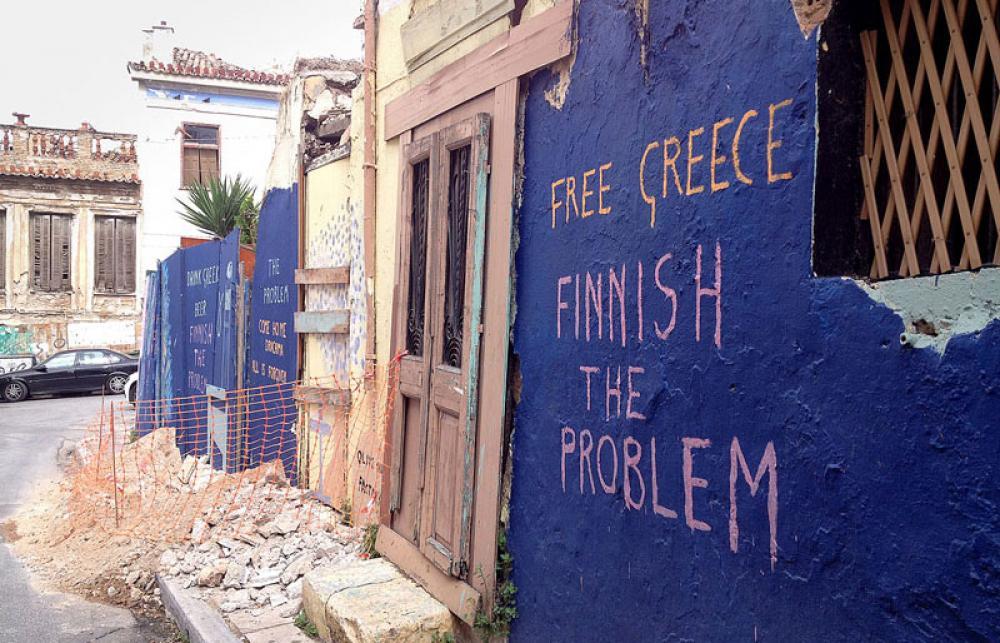Graffiti ateenalaisessa seinässä