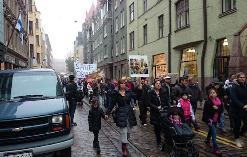 Kurdien mielenosoitus Helsingissä lokakuussa 2010.