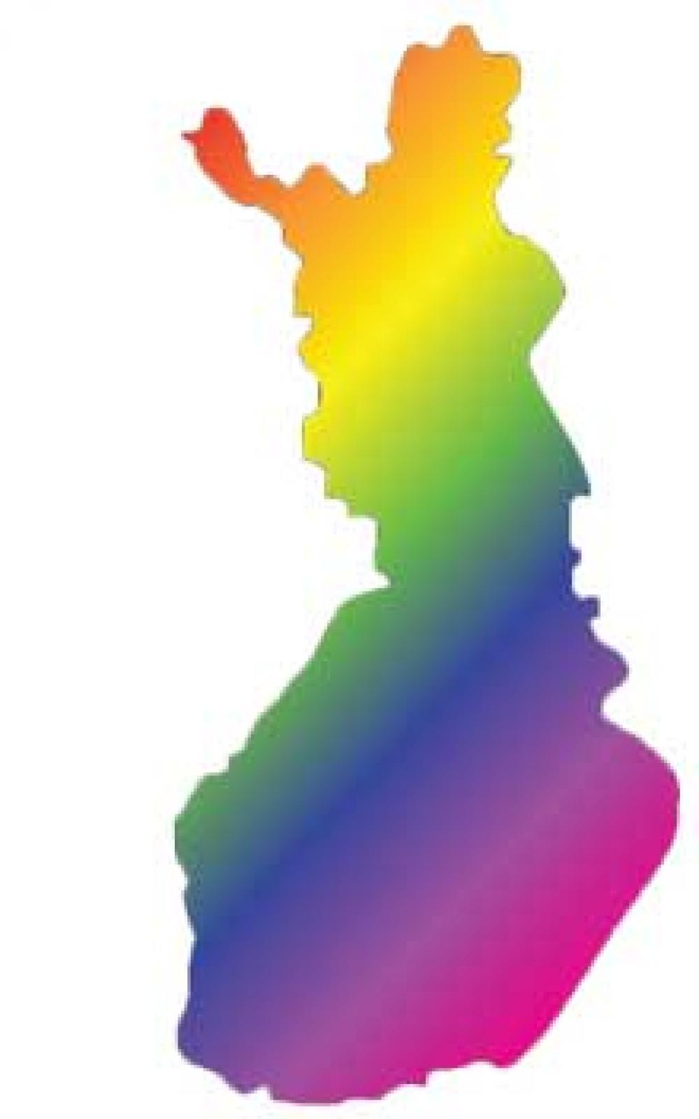 Kuvituskuvassa Suomi sateenkaaren väreissä.