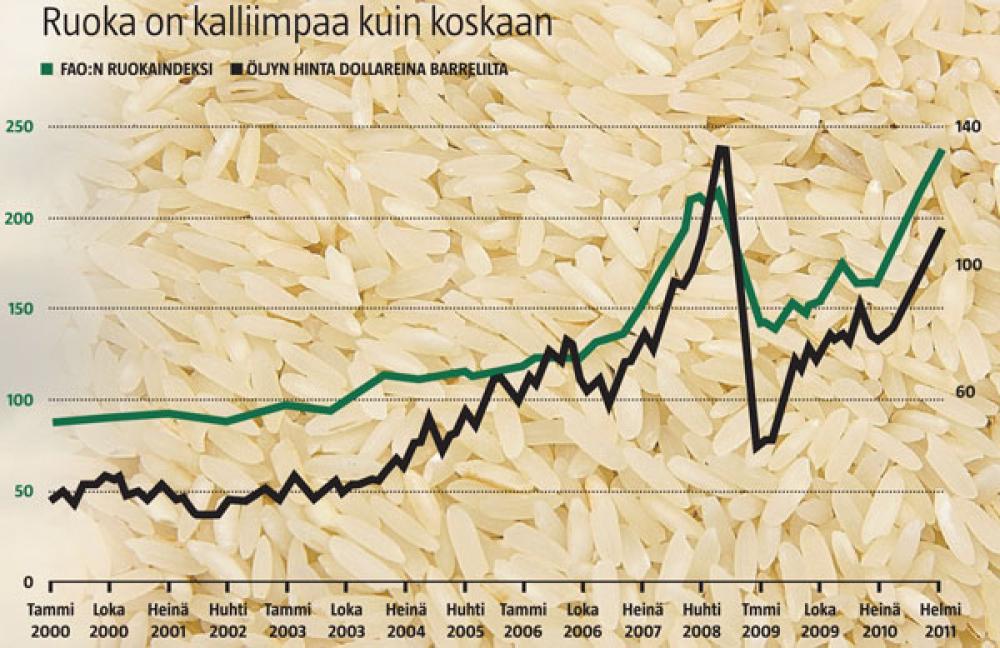 Öljyn ja ruuan hinnan kehitys.