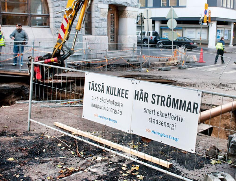 Helsingin Energian työmaa.