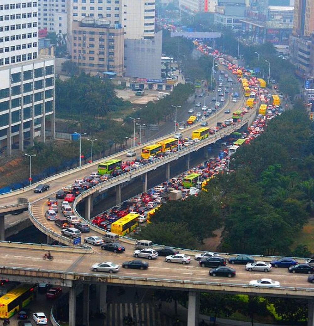 Liikenneruuhkaa Kiinassa.