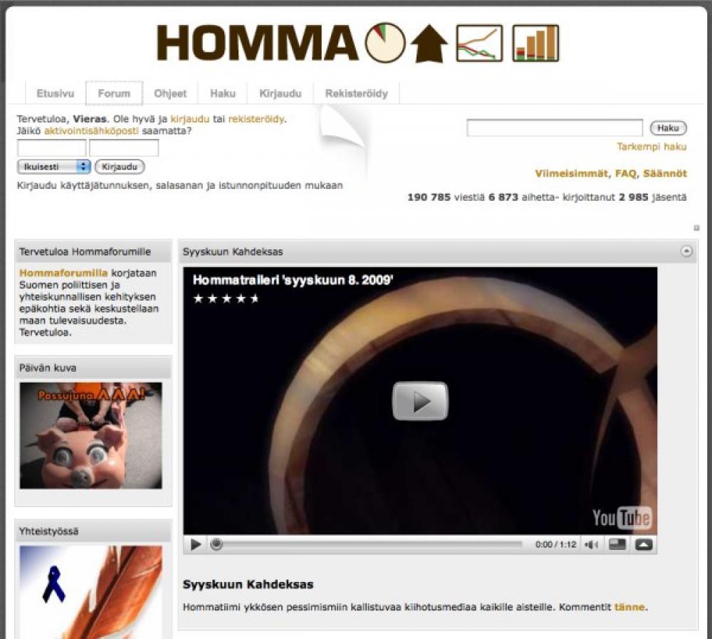 Kuvakaappaus Homma-foorumin etusivulta.