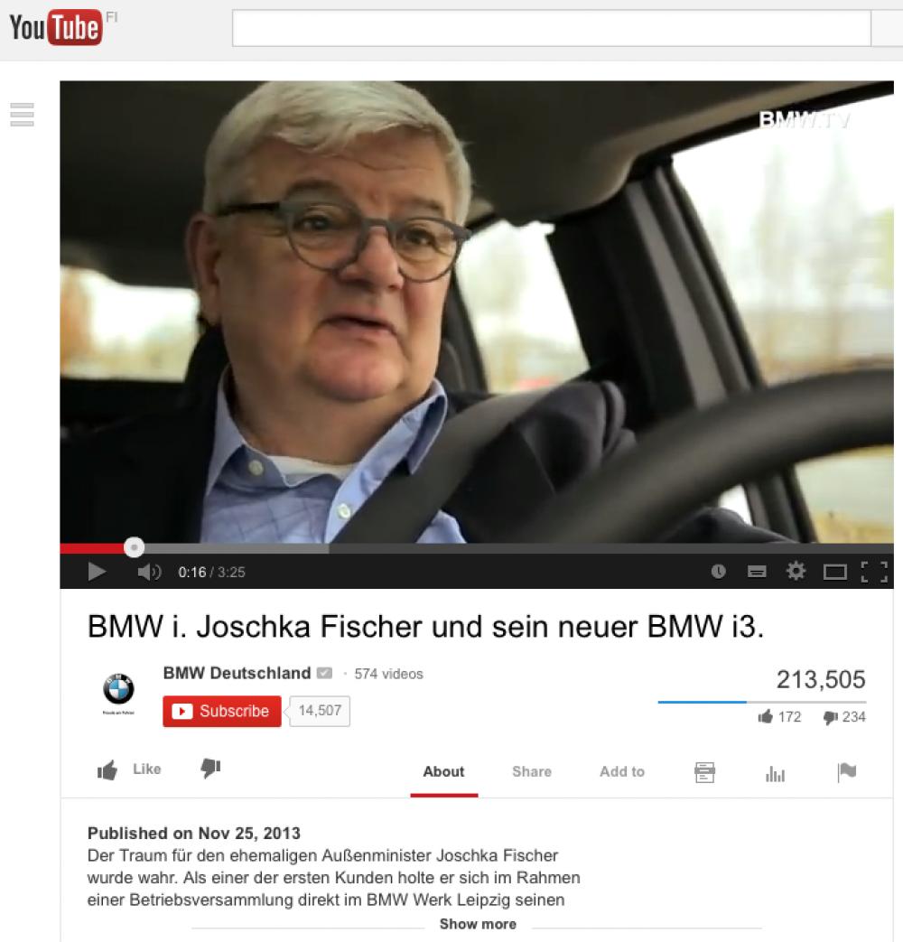 Joschka Fischer ajaa BMW:llä.