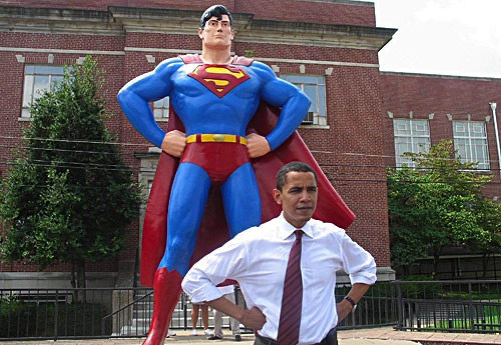 Supermies ja Barack Obama.
