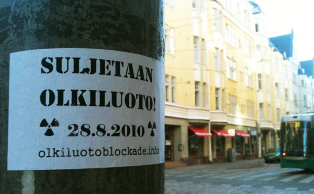 Olkiluoto Blockade -tarra.