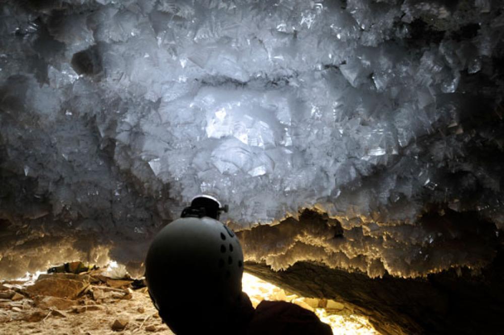 Jääkiteitä luolassa.