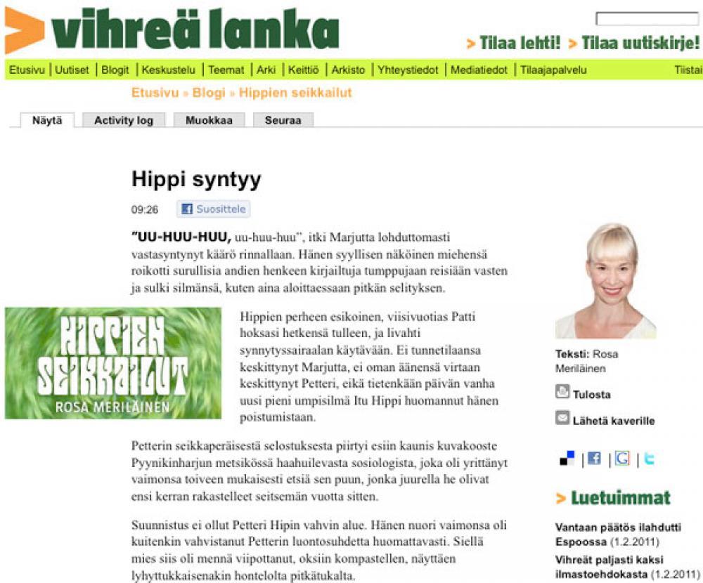 Hippien elämää -ruutukaappaus.