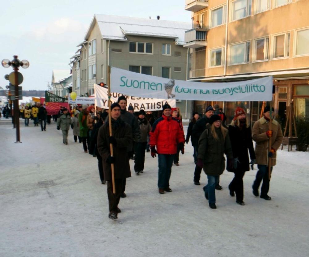 Mielenosoitus Oulussa.
