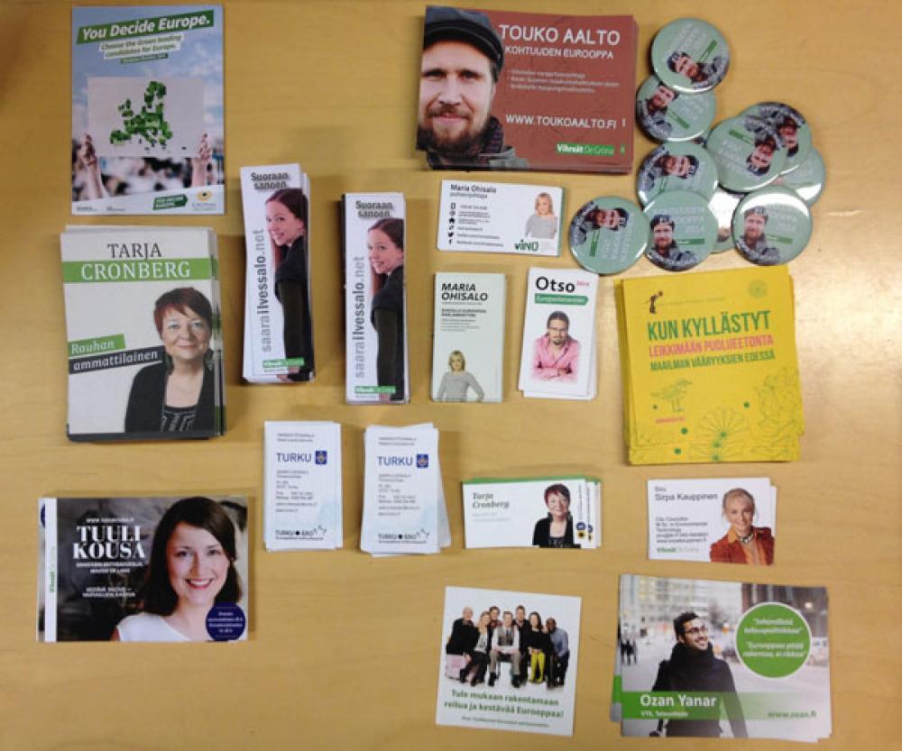 Vihreiden eurovaalimainoksia.