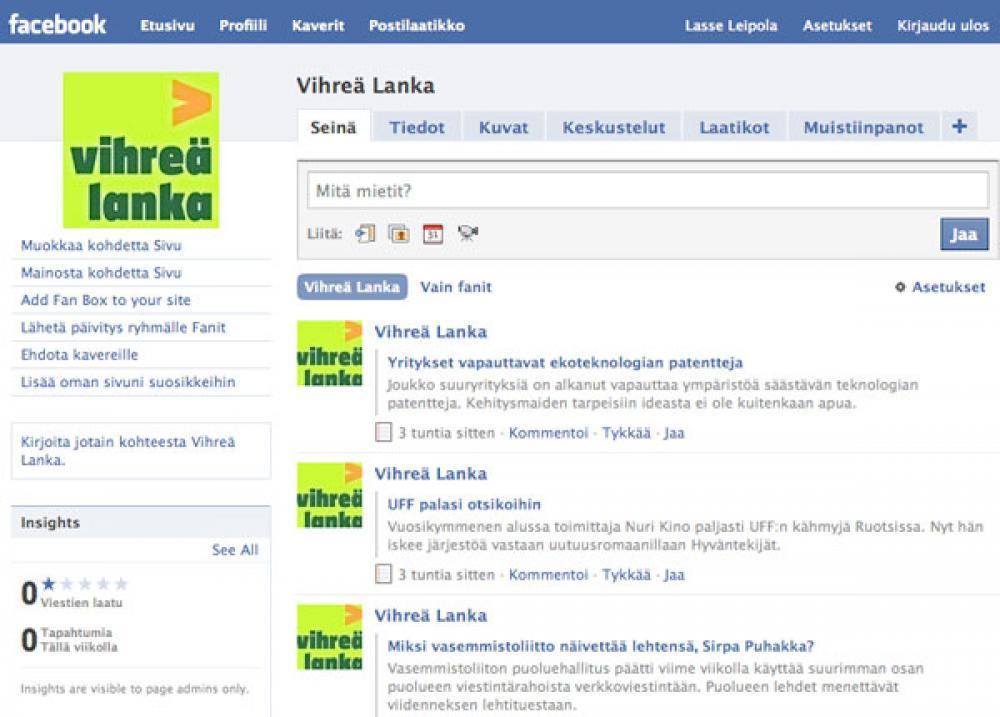 Vihreä Lanka Facebookissa.