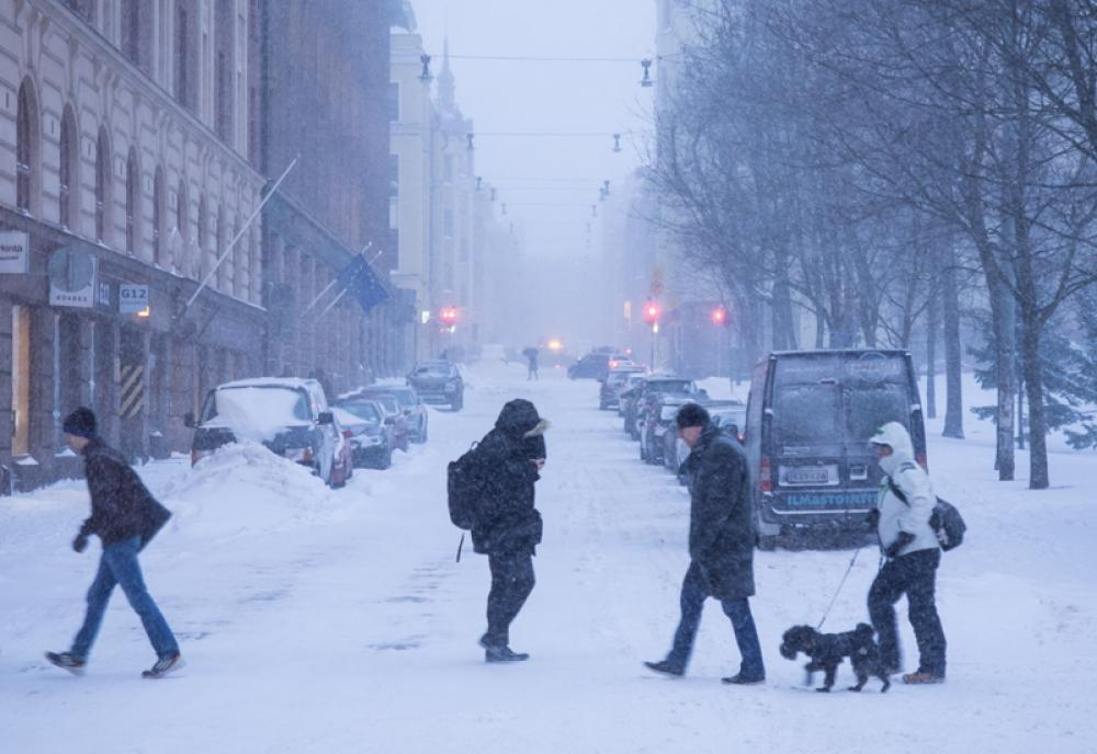 Lumimyräkkä Helsingissä