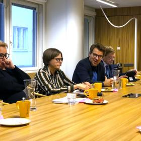 Sirpa Pietikäinen, Heidi Hautala, Ville Niinistö ja Mauri Pekkarinen