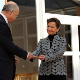 Laurent Fabius ja Christiana Figueres